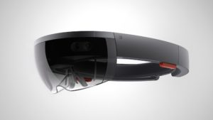 The HoloLens headset equipped with sensors, fish-eye-lens camera & holographic processing unit. (Photo Credit: Microsoft)