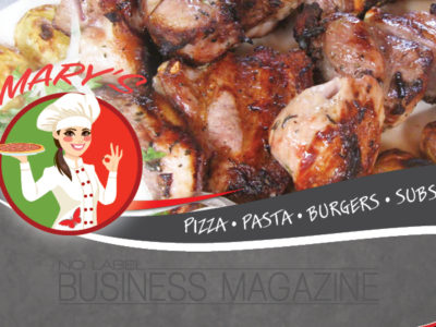 Marys no label business magazine page cover